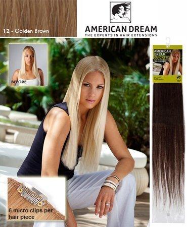 American Dream Extensions à clipser pour cheveux de montage rapide-100% Cheveux Humains Couleur 12-Brun Doré