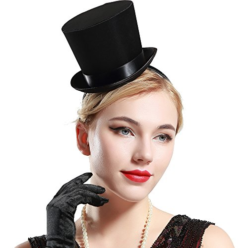 BABEYOND Damen Mini Top Hut Haarreif Kostüm Party Hut Flapper Zubehör Karneval Zylinder Hut