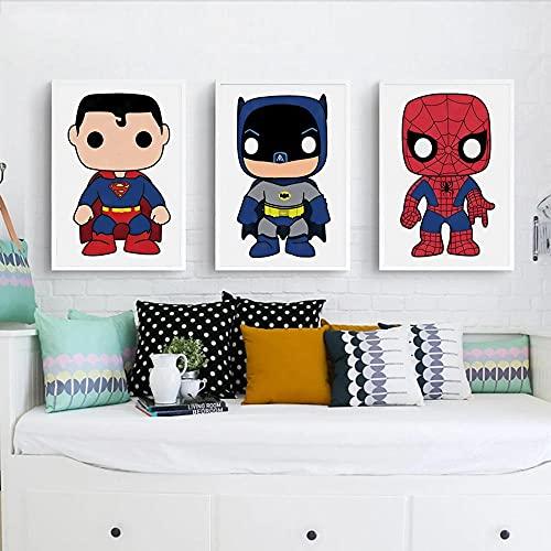 SNGTOW Dessin animé Super-héros Mur Art Toile Impression Peinture Iron Man Spiderman Affiche Enfants Salon décor à la Maison Nordique Murale   30x50cmx3 Pas de Cadre
