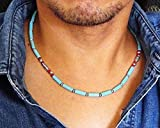 Southwestern Inspired Handmade Mens Necklace 19 inch, Beaded with Blue Magnesite Stone and Red Coral