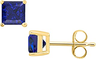 tusakha Fancy Party Wear Princess Cut Blue Sapphire Solitaire Stud Earrings 14K Yellow Gold Over .925 Sterling Silver For Womens /& Girls 3MM TO 10MM