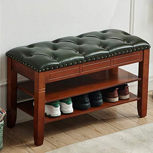 Banco de almacenamiento de zapatos de entrada, banco de zapatos de madera maciza con cojín de cuero, estante de zapatos de 2 niveles para el vestíbulo, muebles de acento ( Color : Marrón )