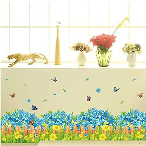 Rjjrr Planta Verde Azul Floral Etiqueta De La Pared Estudio Dormitorio Decoración De La Pared Arte Moderno Mural Decoración Del Hogar Calcomanía De Zócalo