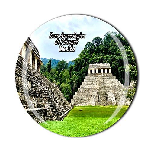 Zona Arqueologica de Palenque México 3D Imán de nevera de recuerdo de cristal de cristal Imán de viaje colección de recuerdos regalo hogar cocina decoración