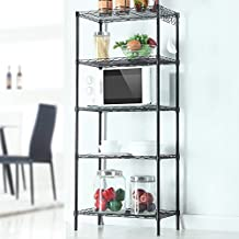 Rapesee 5-Tier Floor Standing Carbon Steel Storage Rack Changeable Assembly ire Shelving Display Organization with Hooks, Black