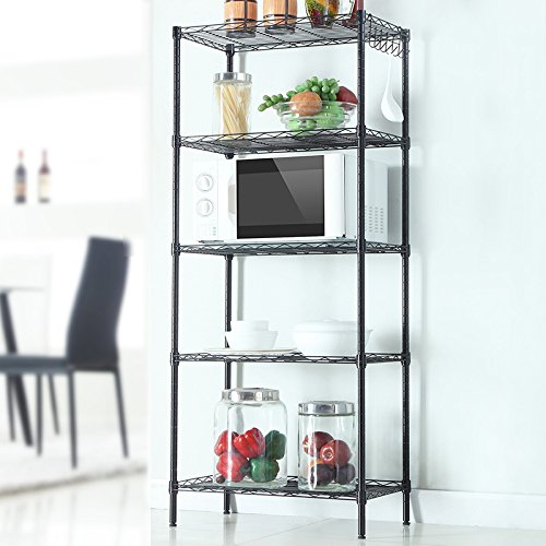 5-Tier Changeable Assembly Floor Standing Carbon Steel Storage Shelves,Heavy Duty Shelving Unit(500 lbs loading capacity),Steel Organizer Wire Shelving,Size 21.25