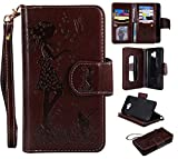 Abtory Galaxy J4 2018 Case, for Galaxy J4 2018S Wallet Case, PU Leather [9 Card Slots] ID Credit Folio Flip Magnetic Kickstand Cover for Samsung Galaxy J4 2018with Wrist Strap Brown