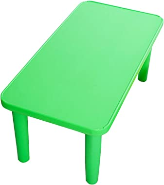 ReunionG Rectangular Kids Activity Table, Kids Play Table, Portable Plastic Table with Foot Mats, Children Activity Table for