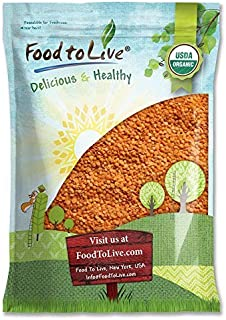 Organic Red Split Lentils by Food to Live (Dry Beans, Non-GMO, Kosher, Raw, Masoor Dal, Bulk) — 15 Pounds