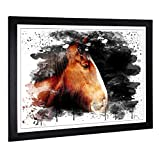 Big Box Art Framed Picture Print with Shire Horse V3 Design | Large Wall Art | Home Decor for Kitchen, Living, Dining Room, Bedroom, Hallway | A2 / 24.5 x 18 Inch | Black, 62 x 45 cm