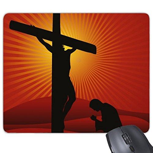 Religie Christendom Cultuur Geloof Kerk Rood Zwart Bidden Heilige Jezus Kruis Illustratie Patroon Rechthoek Antislip Rubber Mousepad Game muismat