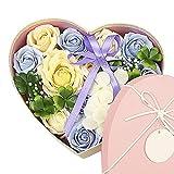 Gobesty Herz Rosenbox, Seifenblume in Geschenkbox, Seife Blume mit Grußkarte Rosen-Duftseifen Soap...