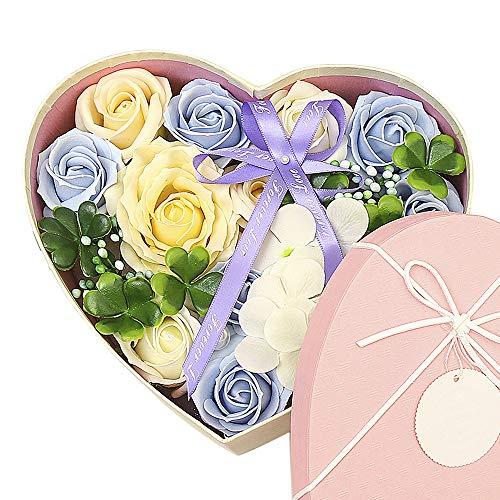 Gobesty Herz Rosenbox, Seifenblume in Geschenkbox, Seife Blume mit Grußkarte Rosen-Duftseifen Soap Flower für Frauen Freundin Frau Muttertag, Valentinstag, Weihnachten, Jubiläum