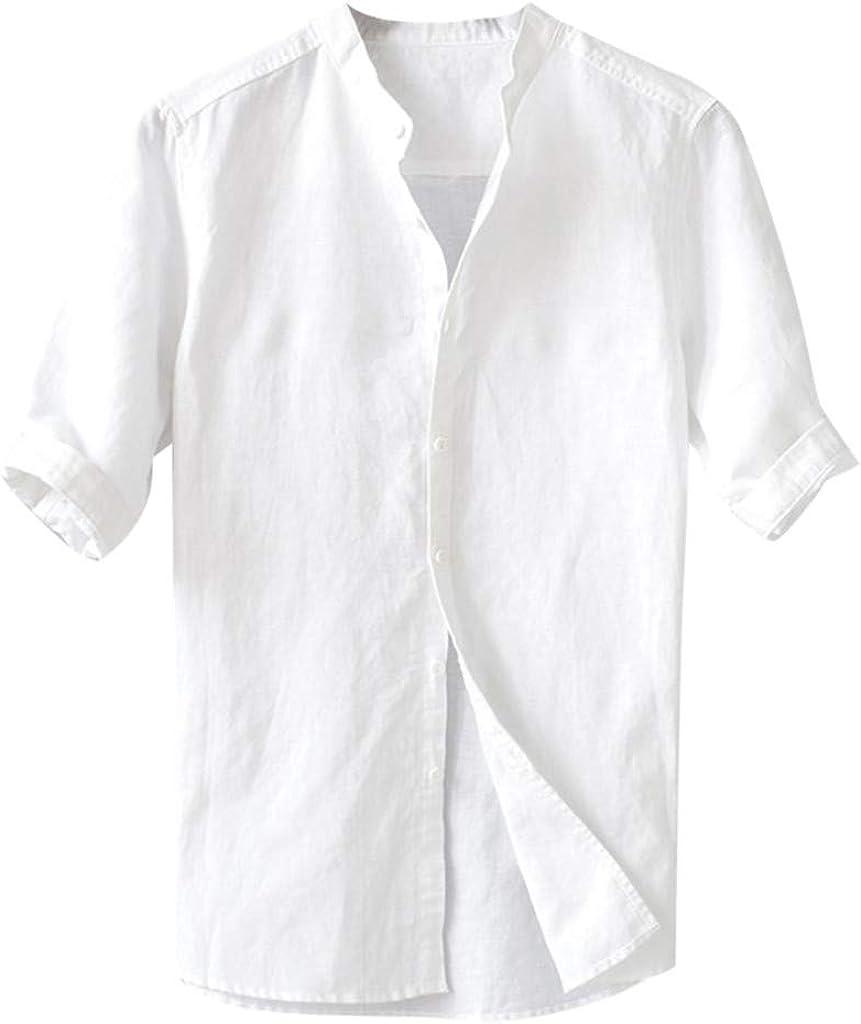iCJJL Mens Casual Short Sleeve Linen Shirts Summer Banded Collar Regular Fit Button Down Shirt Solid Beach T-Shirt Tops