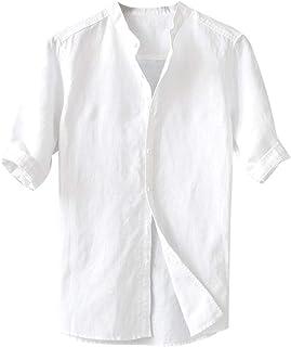 HEATLE - Camisetas de algodón para hombre, de lino y algodón, con botones y cuello en forma de O con puños de media manga ...