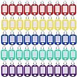 50 Piezas Clave Etiquetas, Etiquetas de Identificación, Llaveros con Etiqueta, Plastico Ventana Transparente Identificador de Llaves para Llave, Equipaje, Nombre Mascota, Número Hotel (5 Colores)