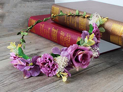 Simsly Boho Blume Kopfbedeckung Hochzeit Blumengirlande Stirnband Blumen Krone Haarschmuck für Frauen und Mädchen
