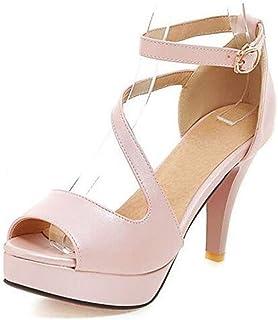 1b3c62757e0 Sandalias con Tacon Alto para Mujer Plataforma Zapatos de Vestir de Fiesta  con Punta Abierta para
