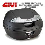 BAUL MONOLOCK 34 LTS NEGRO CON CATADRIOPTICOS AHUMADO GIVI E340 VISION TECH + 6702FZ + M6M PER APRILIA SHIVER 750 2010