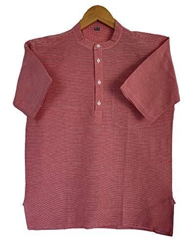 408Latest Chikan Men's Cotton Regular Checkered Short Kurta Half Sleeves – Casual Ethnic Wear,40