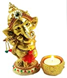 Sacred Blessings Ganesha Idol for Gift (9.5 cm x 6.5 cm x 15 cm, Gold) Ganesh Showpiece Ganeshji Statue Bappa Gift