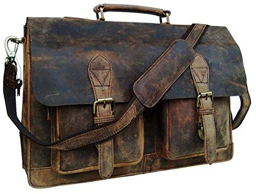 cuero Retro Genuine Buffalo Vintage Hunter Leather Men Laptop Messenger Shoulder Bag Office Briefcase College Bag For Men And Women By Cuero (15 inch)