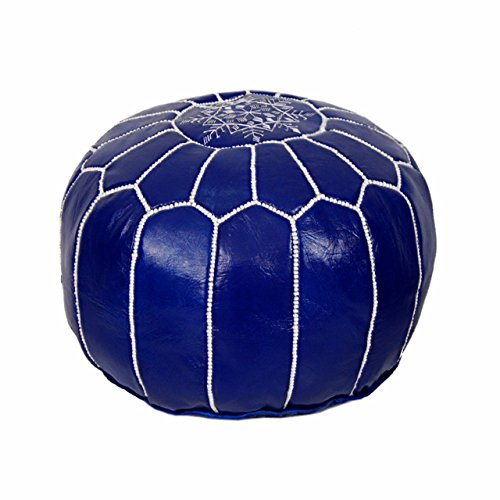 Moroccan Pouf Ottoman Footstool (Leather) Genuine Hand-Stitched Seating | Unstuffed | Living Room, Bedroom, Sitting Area | Blue Cobalt