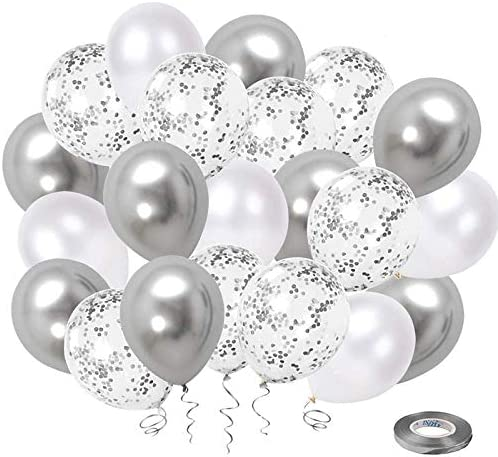 White Silver Confetti Latex Balloons 50 Pack 12inch Silver Metallic Chrome Party Balloon Set product image