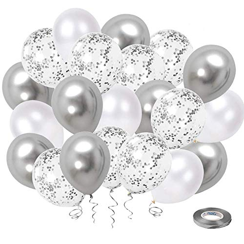 White Silver Confetti Latex Balloons, 50 Pack 12inch Silver Metallic Chrome Party Balloon Set with Silver Ribbon for Wedding Birthday Baby Shower Decorations