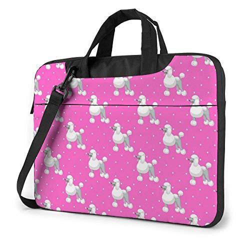 Blanco Standart Poodle Fashion Laptop Case Laptop Shoulder Messenger Bag Manga para 13 a 15.6 Pulgadas