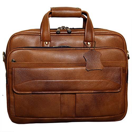 RICHSIGN Leather Accessories Bolsos de cuero de la oficina del mensajero del ordenador portátil para los hombres de 1, marrón (Bronceado), Medium