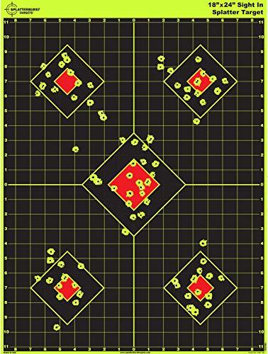 Splatterburst Targets - 18 x 24 inch - Sight in Shooting Target - Shots Burst Bright Fluorescent Yellow Upon Impact - Gun - Rifle - Pistol - Airsoft - BB Gun - Air Rifle - Made in USA (50 Pack)