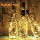 (20 Stück) Flaschen licht, BACKTURE 2M 20 LEDs Flaschenlicht Glas Korken Licht Kupferdraht für flasche für Party, Garten, Weihnachten, Halloween, Hochzeit, außen/innen Beleuchtung Deko (Warmweiß) - 4