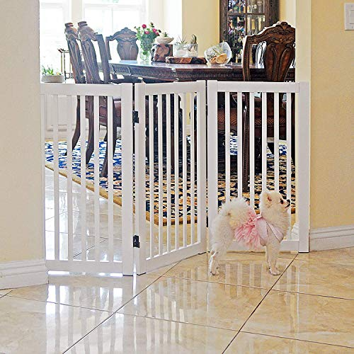 WELLAND Freestanding Wood Pet Gate White 54Inch Width 30Inch Height No Support Feet