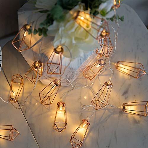 LED Lichterkette, Geometrische LED Lichterkette, Roségold Metall LED String Light 10 LED Batteriebetrieben für Schlafzimmer Hochzeit Weihnachten Party Halloween Dekoration (Batterie nicht enthalten)