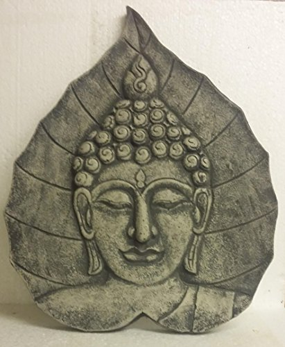 Cuadro de pared con relieve de cabeza de Buda para colgar, piedra fundida, patinada, 48 cm, figura decorativa antiheladas