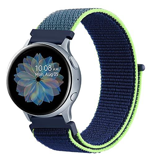 DEOU Correa para Samsung Galaxy Watch Active 2 40mm 44mm & Galaxy Watch Active & Galaxy Watch 3 41mm & Galaxy Watch 42mm,20mm Nylon Pulseras de Repuesto para Galaxy Watch Active 2(Cian Azul)