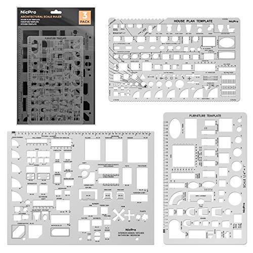 Nicpro Plastic Drafting Tools Architectural Templates, 3 PSC Geometry Template Supplies for CAD Drawing House Plan Furniture Kitchen, Building, Interior Design Tools Ruler Shapes