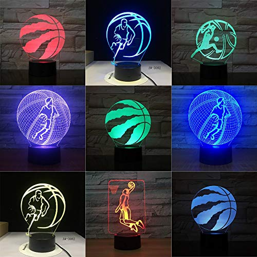 Raptors de baloncesto 3D LED Night Light para Club Home Office Room Decor Light Gift para Kid Child Colorful Table Desk Lamp