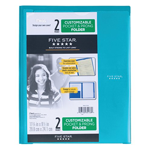 Five Star 2 Pocket Folder with Prong Fasteners, Folder with Pockets, Customizable Cover, Plastic, Color Selected for You, 1 Count (34136) Photo #11