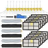 LhhTing Ersatz-Zubehör-Set für iRobot Roomba 800 & 900Series 850 860 861 866 870 880 890 960 980,12 Filter, 12 Seitenbürsten, 3 verwicklungsfreie Schmutzabsaugung