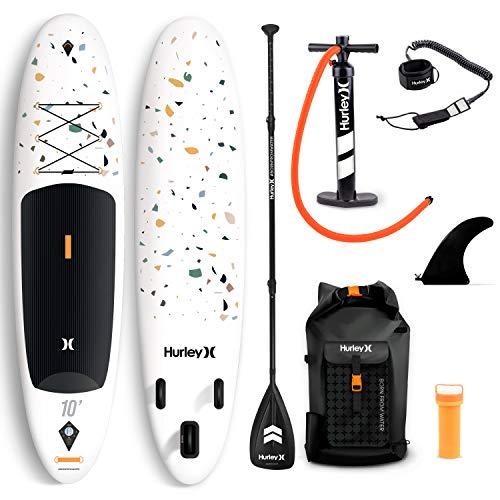 Hurley Advantage 10' Stand Up Paddle Board con mochila, bomba de aire, pala flotante ajustable, correa en espiral, aleta y kit de reparación (Terrazzo)