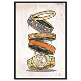 """Image of The Oliver Gal Artist Co. Fashion and Glam Framed Wall Art Canvas Prints Arm Candy' Jewelry Home Décor, 16"""" x 24"""", Orange, Gold"""