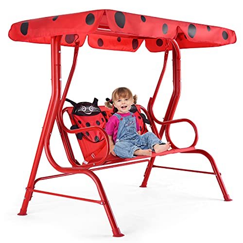 RELAX4LIFE Hollywoodschaukel für Kinder, Kinderschaukel 2 Sitzplätze, Gartenschaukel Käfermuster, Schaukelbank mit Sonnendach, Gartenbank mit...