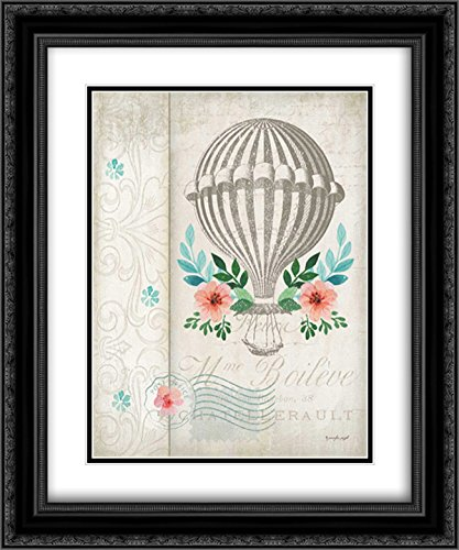 Pugh, Jennifer 15x17 Black Ornate Framed and Double Matted Museum Art Print Titled French Hot Air Balloon