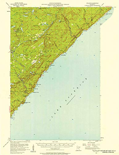 YellowMaps Finland MN topo map, 1:62500 Scale, 15 X 15 Minute, Historical, 1956, Updated 1958, 27.23 x 21.53 in - Paper (Best Places To Work Remotely In Minneapolis)