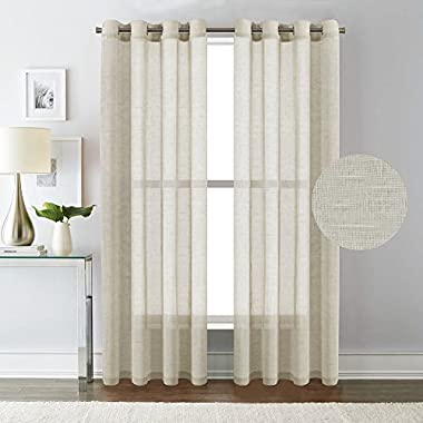H.VERSAILTEX 52 - Inch Width by 84 - Inch Length Linen and Poly Curtain Sheers for Living Room/Nickel Grommet Top Window Panels -Set of 2,Natural