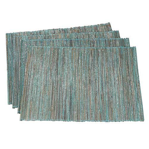 SARO LIFESTYLE 217.BG1420B Melaya Collection - Manteles individuales de mesa (teñidos, 4 unidades, 35,5 x 50,8 cm), color azul y gris, Turquoise, 14' (35.56cm) x 20' (50.80cm), 1