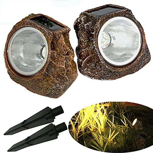 Solar Garden Rock Lights Outdoor,2 Pack 10 LED Waterproof Solar Powered Rock Light with Ground Plug, Outdoor Landscaping Spotlights, for Indoor and Outdoor Decoration