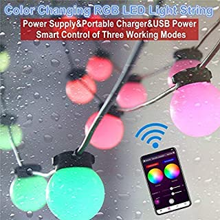 LENCOR Outdoor String Lights Color Changing, 32.8ft Patio Lights, 30 Dimmable Acrylic Shatterproof Bulbs with Bluetooth Wireless Smartphone APP Controlled(Brightness&Speed), Sync to Music